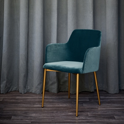 Dolce Teal Velvet & Brass Dining Chair, Modern For Newest Velvet Dining Chairs (View 12 of 20)