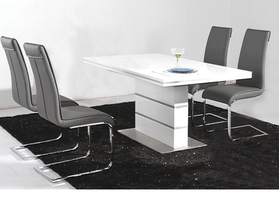 Dolores High Gloss Dining Table Set 14939 Furniture In With Preferred Gloss White Dining Tables And Chairs (View 8 of 20)