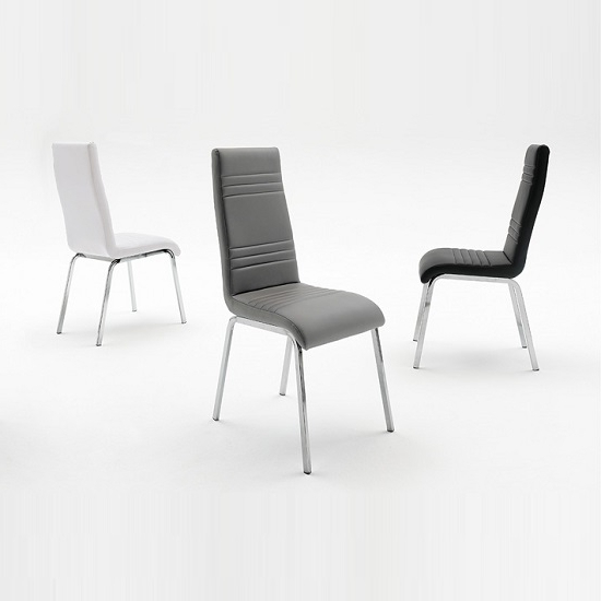 Dora Dining Chair In White Faux Leather With Chrome Base With Regard To Most Current Chrome Leather Dining Chairs (View 6 of 20)