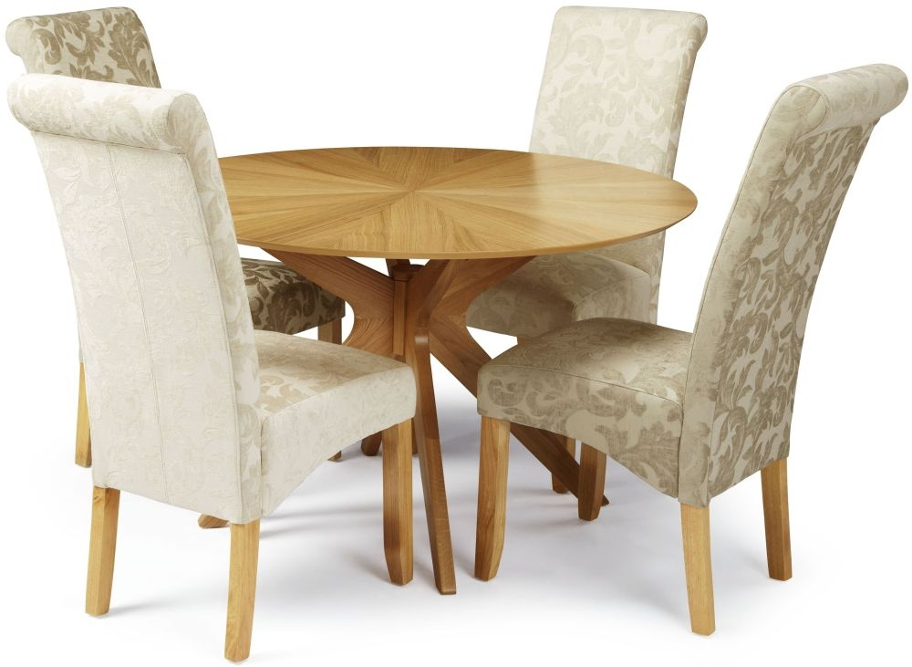 Douglas Oak Round Dining Set With 4 Courtland Sage Floral Fabric With Regard To Favorite Oak Fabric Dining Chairs (View 6 of 20)