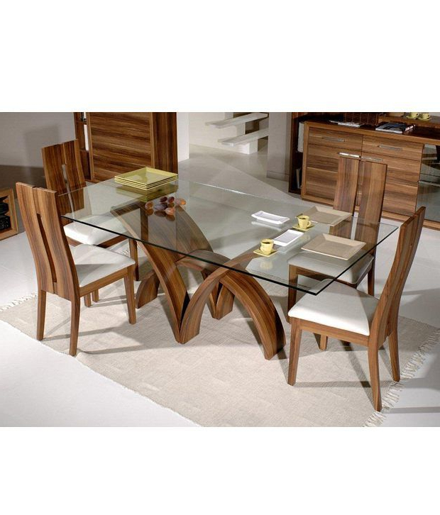 Dream Furniture Teak Wood 6 Seater Luxury Rectangle Glass Top Dining Within Most Up To Date Rectangular Dining Tables Sets (View 15 of 20)
