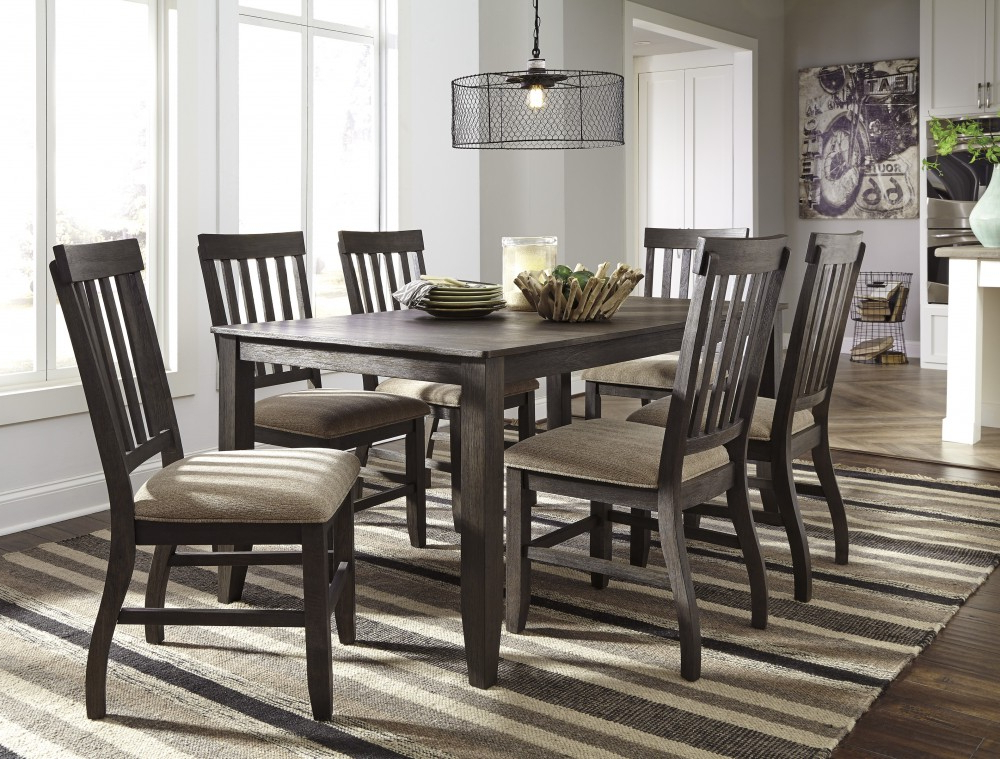 Dresbar – Grayish Brown – Rectangular Dining Room Table & 6 Uph Side Intended For Best And Newest Rectangular Dining Tables Sets (View 14 of 20)
