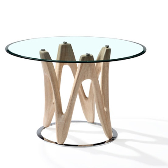 Dunic Glass Dining Table Round In Sonoma Oak And Chrome For Most Recently Released Round Glass And Oak Dining Tables (View 3 of 20)