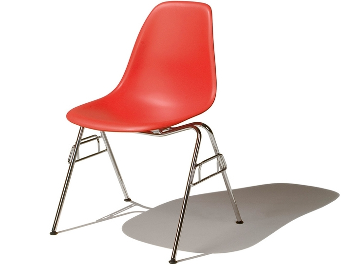 Eames® Molded Plastic Side Chair With Stacking Base – Hivemodern With Well Known Dom Side Chairs (Gallery 12 of 20)