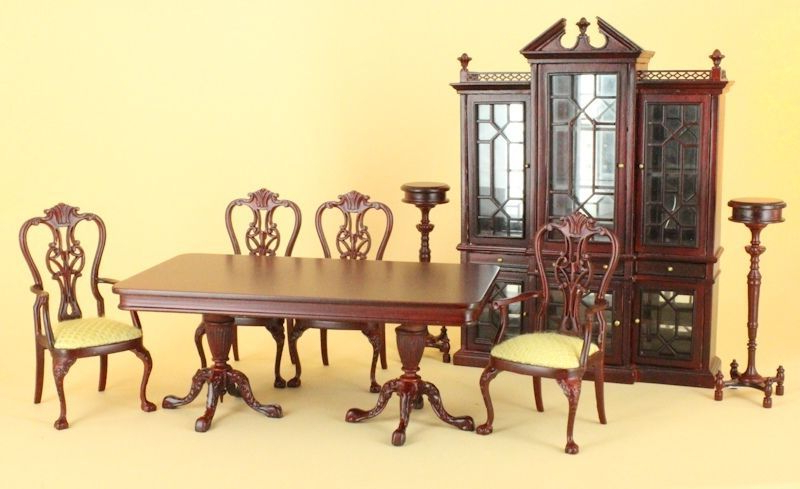 "Ebay Dining Suites Intended For Most Up To Date Dollhouse Miniature ""kingston"" Dining Suite 8 Pc (View 5 of 20)"