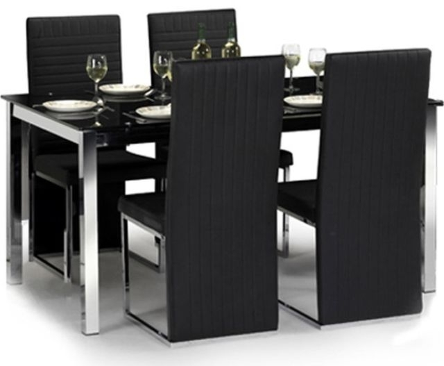 Ebay With Regard To Black Glass Dining Tables And 4 Chairs (View 12 of 20)
