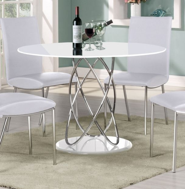 Eclipse 115 Cm Round White High Gloss Dining Table Pertaining To Current Round High Gloss Dining Tables (View 3 of 20)