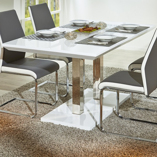 Edmonton Dining Tables For Well Known Edmonton Modern Extendable Dining Table In White High Gloss Dining (View 2 of 20)