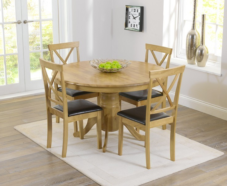 Elstree 120cm Oak Round Dining Table + 4 Chairs – Swagger Inc Regarding Latest Round Oak Dining Tables And 4 Chairs (View 9 of 20)