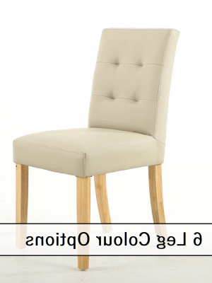 Emily Matt Ivory Leather Dining Chair With 6 Leg Options (View 5 of 20)