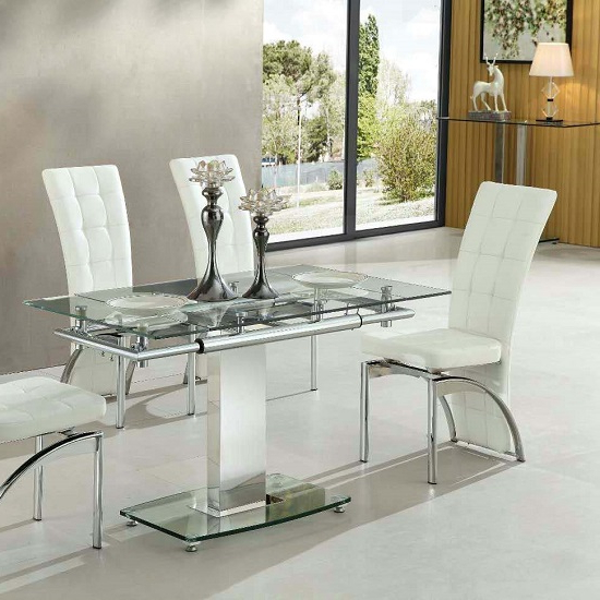 Enke Extending Dining Table In Clear Glass And Chrome Frame Pertaining To Popular Glass Extending Dining Tables (View 2 of 20)