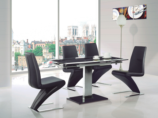 Enke Glass Extending Dining Table With 4 Z Chairs Black With Favorite Dining Tables Black Glass (View 17 of 20)