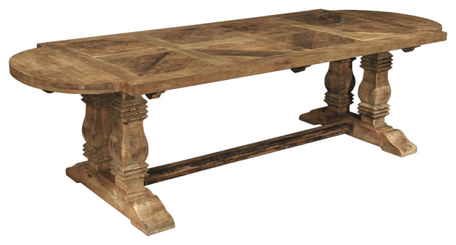 Esa French Country Reclaimed Pine Parquet Oval Dining Table For Most Recent Parquet Dining Tables (View 7 of 20)