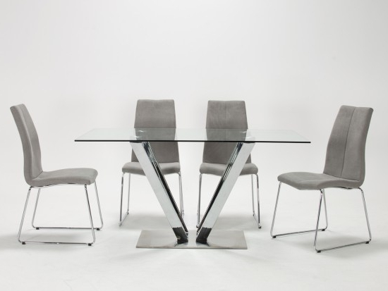 Evoque Tempered Glass Stainless Steel Dining Table With 6 Evoque Throughout Fashionable Glass And Stainless Steel Dining Tables (View 17 of 20)