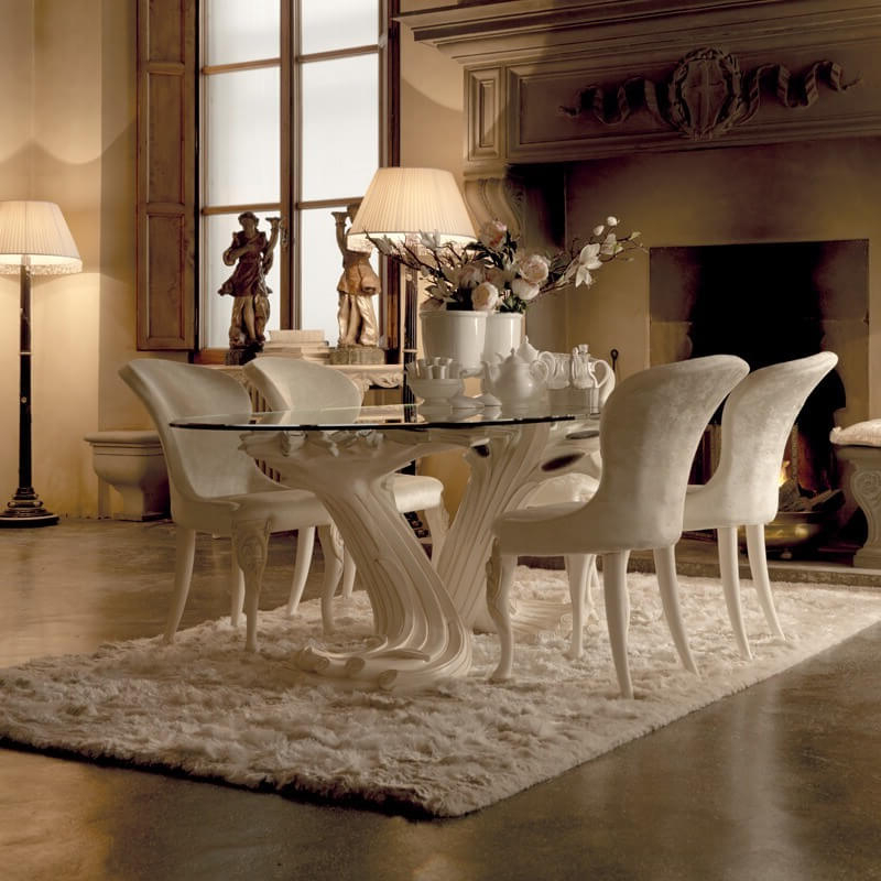 Exclusive Italian Pedestal Large Glass Dining Table Set, Pedestal For Preferred Pedestal Dining Tables And Chairs (View 9 of 20)