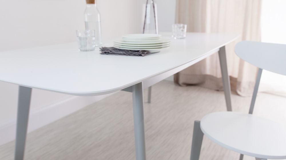 Extendable Dining Sets Pertaining To Most Recent Aver Grey & White Extending Dining Table And Eames Chairs (View 11 of 20)