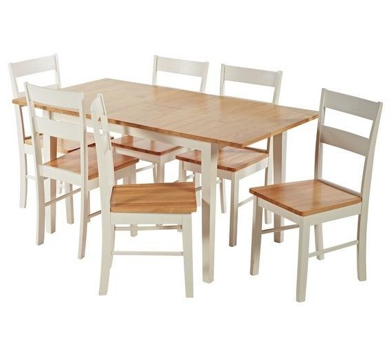 Extendable Dining Tables With 6 Chairs For Most Popular Unused 2 Tone Extendable Dining Table And 6 Chairs (View 18 of 20)