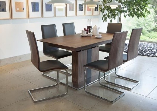 Extendable Dining Tables With 6 Chairs With Regard To 2017 Almara Walnut Extending Dining Table + 6 Chairs (Gallery 5 of 20)