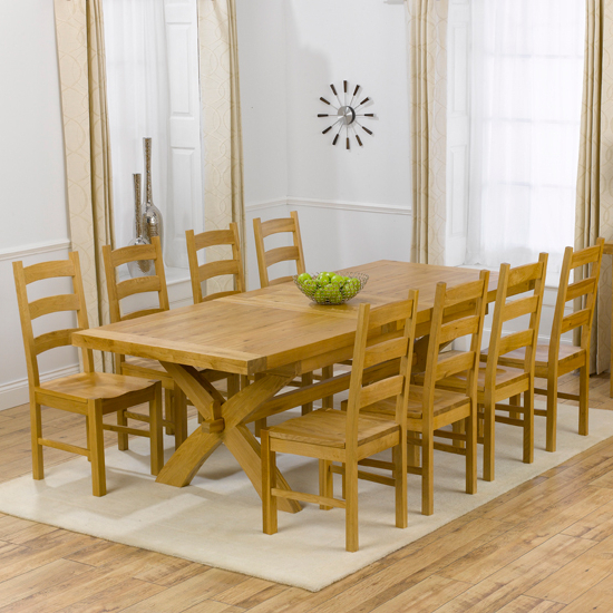 Extendable Dining Tables With 8 Seats Throughout Most Current Avignon Oak Extending Dining Table And 8 Hannover Timber (Gallery 1 of 20)