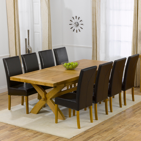 Extendable Dining Tables With 8 Seats With Regard To Current Avignon Oak Extending Dining Table And 8 Brown Rustique (View 9 of 20)