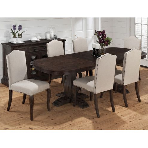 Extendable Dining With Popular Jaxon 7 Piece Rectangle Dining Sets With Upholstered Chairs (View 6 of 20)