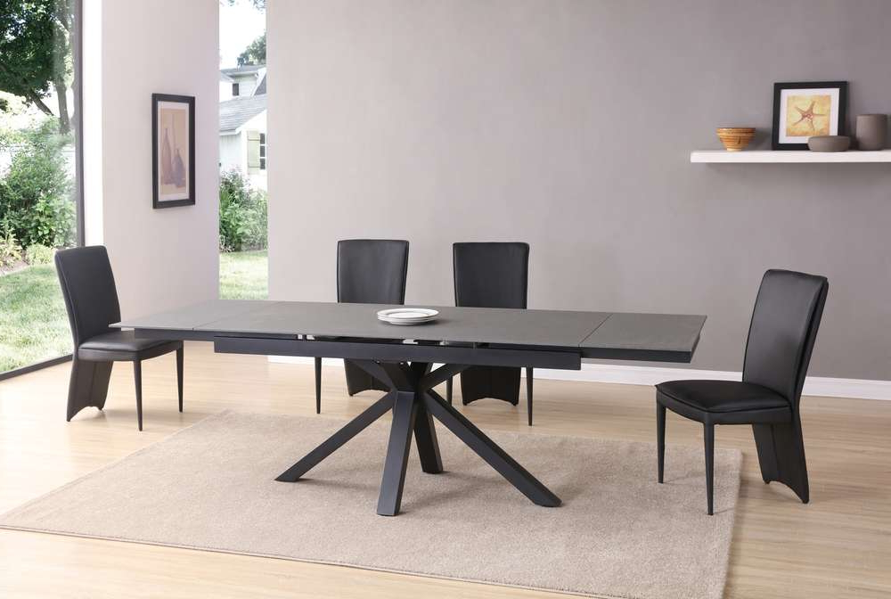 Extending Black Dining Tables With Newest Grey And Black Stone Glass Dining Table And 8 Chairs – Homegenies (Gallery 19 of 20)