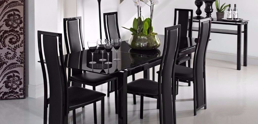 Extending Black Glass Dining Table And 6 Chairs ( Noir Range From Regarding Most Popular Glass Extendable Dining Tables And 6 Chairs (Gallery 10 of 20)