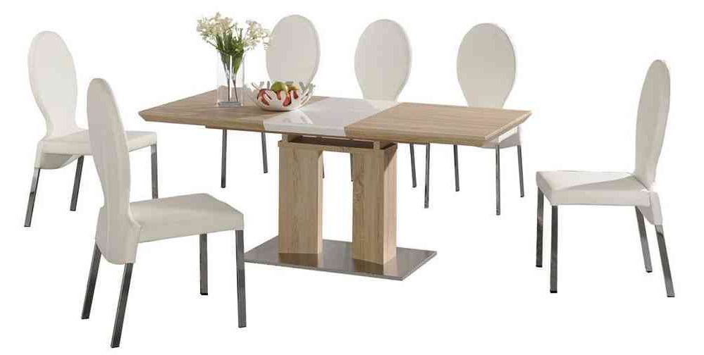 Extending Dining Table And 6 White Chairs Wood Finish /high Gloss Intended For Current Extending Dining Tables With 6 Chairs (Gallery 7 of 20)