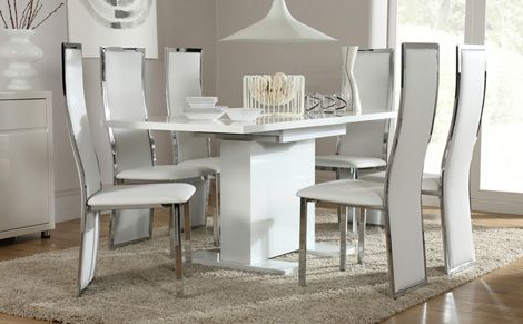 Extending Dining Tables With 6 Chairs Within Most Up To Date Osaka White High Gloss Extending Dining Table And 6 Chairs Set (View 14 of 20)