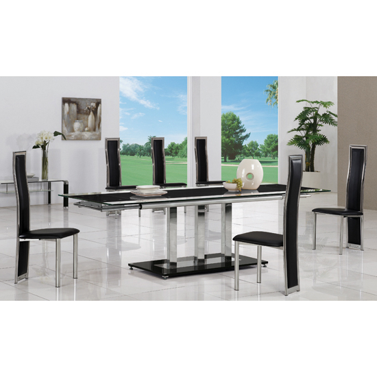 Extending Glass Dining Tables And 8 Chairs Throughout Well Known Tripod Black Extending Glass Dining Table And 8 G650 Chairs (View 7 of 20)