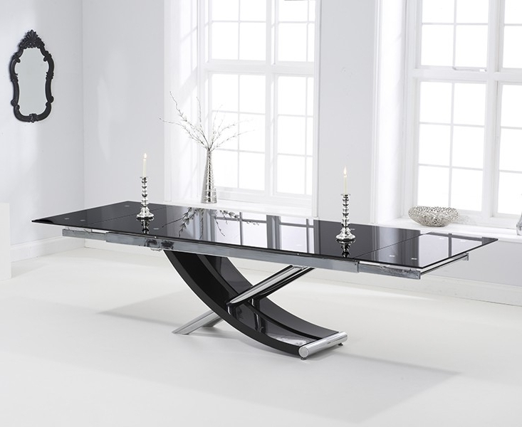 Extending Glass Dining Tables And 8 Chairs Within Best And Newest Carlton Black Glass 210cm Extending Dining Set With 8 Boston Ivory (View 13 of 20)