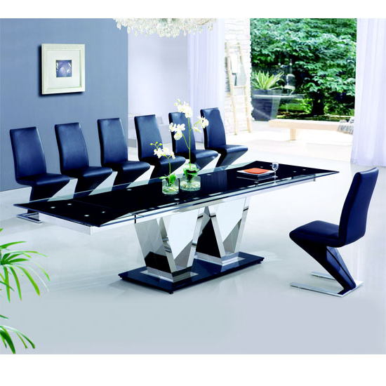Extending Glass Dining Tables And 8 Chairs Within Preferred Nico Extending Glass Dining Table And 8 Z Leather Chairs (View 9 of 20)