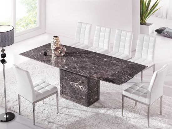 Extending Marble Dining Tables With Regard To Trendy Brown & Grey Extending Dining Table With 6 Chairs (marble) – Kk (View 17 of 20)