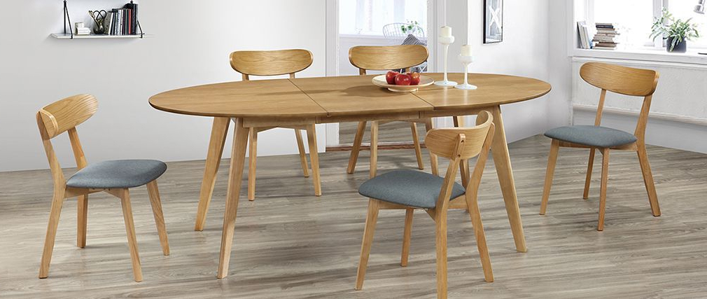 Extending Oak Dining Tables With Regard To Widely Used Marik Designer Extending Oak Dining Table – Miliboo (View 18 of 20)