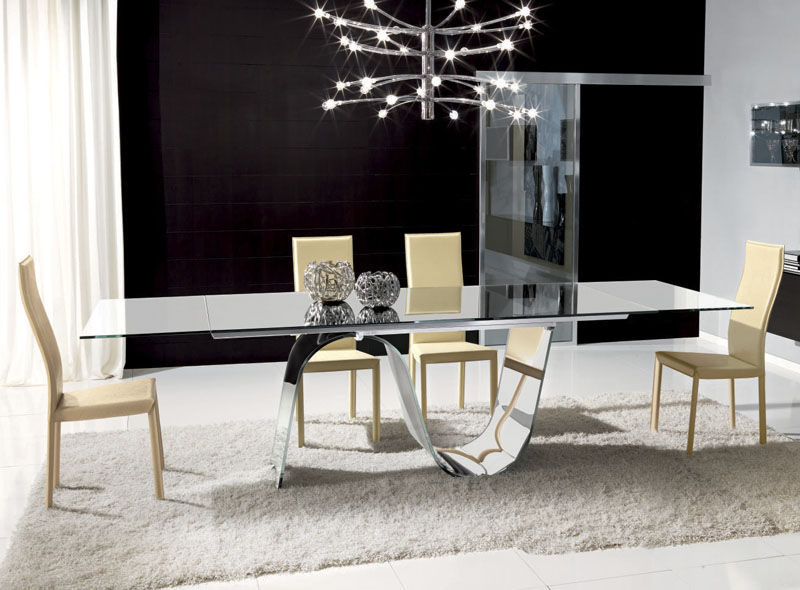 Extending Rectangular Dining Tables Intended For Favorite Contemporary Dining Table / Tempered Glass / Rectangular / Extending (View 8 of 20)