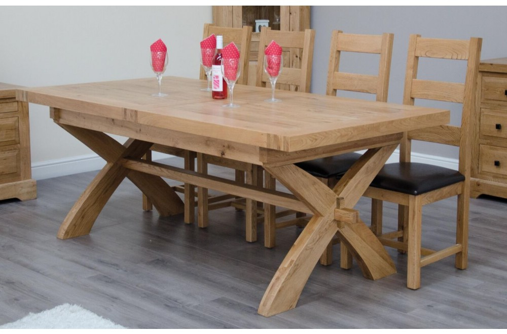 Extending Solid Oak Dining Tables For Most Popular Homestyle Deluxe Solid Oak X Leg Extending Dining Table From The Bed (Gallery 10 of 20)