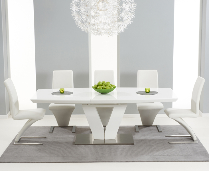 Extending White Gloss Dining Tables Regarding Favorite Malaga 180Cm White High Gloss Extending Dining Table With Hampstead (View 7 of 20)