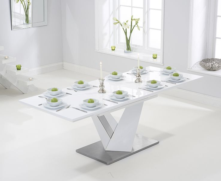 Extending White Gloss Dining Tables Throughout Recent Julian Bowen Metro High Gloss White Coffee Table (Gallery 14 of 20)