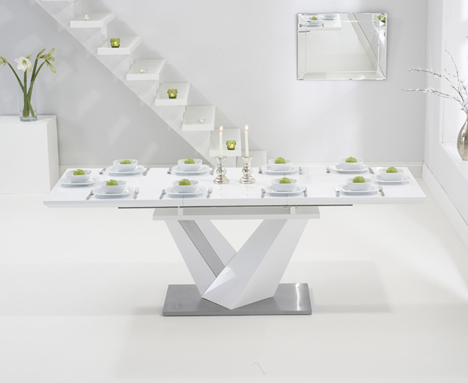 Extending White Gloss Dining Tables Throughout Well Known Harmony 160Cm White High Gloss Extending Dining Table With Black (View 9 of 20)