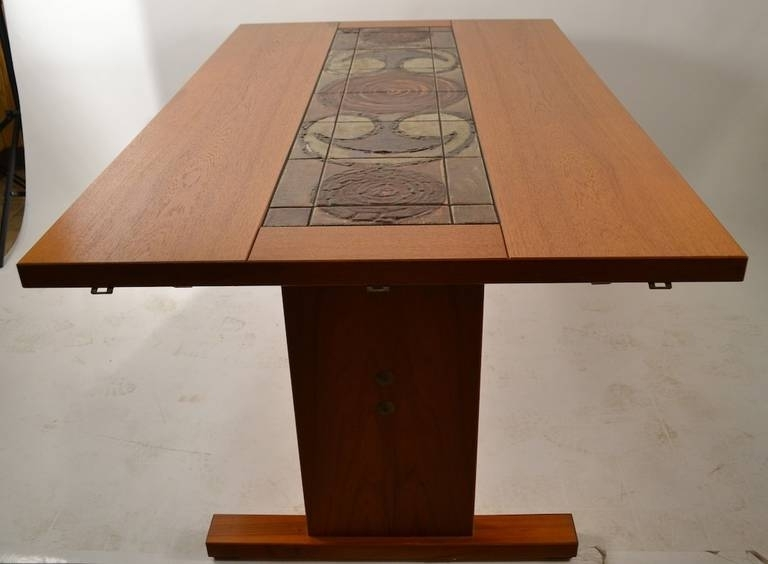 Extra Long Danish Ox Art, Drop Leaf Dining Table With Tile In Well Known Cheap Drop Leaf Dining Tables (Gallery 15 of 20)
