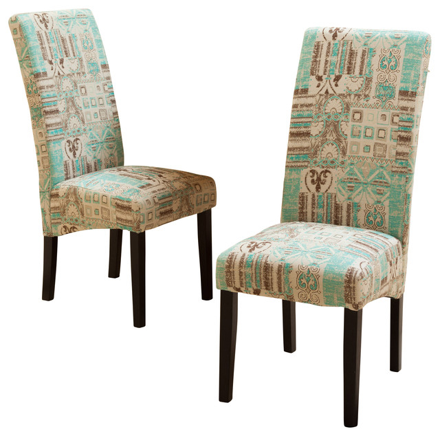 Fabric Dining Chairs Inside Favorite India Geometric Fabric Dining Chairs, Set Of 2 – Mediterranean (View 6 of 20)