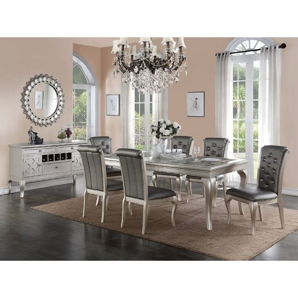 Fabric Dining Chairs Within Most Popular Shop Bermington Silver Wood And Fabric Dining Chairs (Set Of  (View 9 of 20)