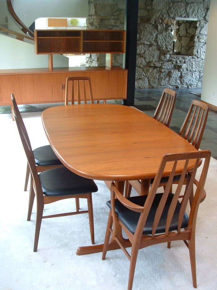 Featured Photo of Natural Brown Teak Wood Leather Dining Chairs