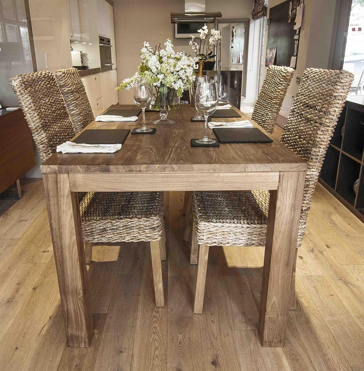 Famous 180Cm Dining Tables Throughout Pancor' 180Cm Reclaimed Wood Dining Table And 6 Banana Leaf Chair (View 6 of 20)