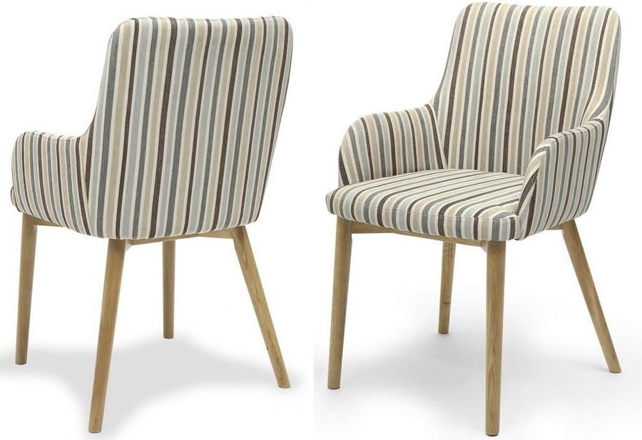 Famous Abdabs Furniture – Sidcup Duck Egg Blue Stripe Dining Chairs – Pair With Blue Stripe Dining Chairs (View 10 of 20)