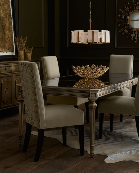 Famous Antique Mirror Dining Tables Within Roberta Antiqued Mirrored Dining Table (View 8 of 20)