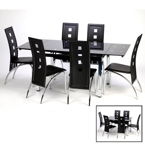 Famous Black Extendable Dining Tables And Chairs With Sarah Glass Extendable Dining Table In Black With Chrome (View 8 of 20)