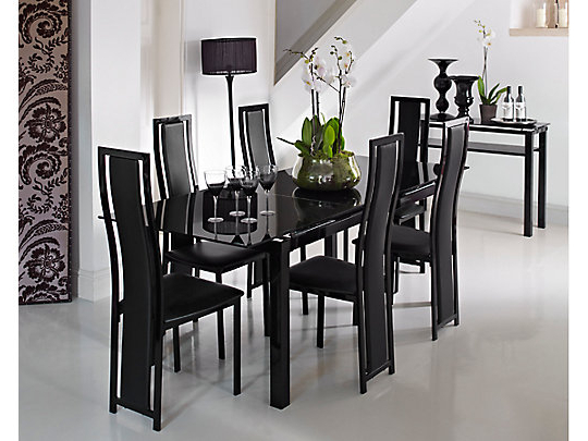 Famous Black Glass Extending Dining Table 6 Chairs – Onlinemedguide Regarding Extendable Glass Dining Tables And 6 Chairs (Gallery 6 of 20)