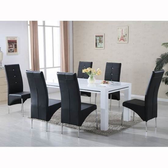 Famous Black Gloss Dining Tables And Chairs Throughout Diamante High Gloss Dining Table With 6 Vesta Black Chairs (View 10 of 20)