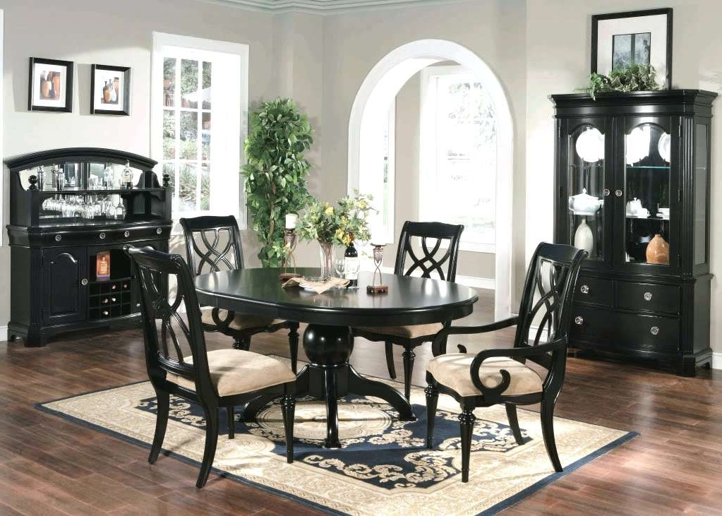 Famous Black Wood Dining Tables Sets Pertaining To Black Dining Room Furniture Black Dining Table And Chairs Sets Black (View 9 of 20)